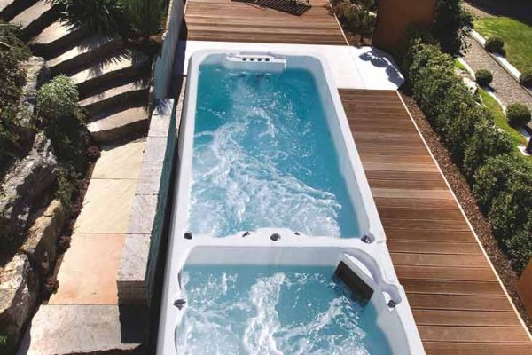 SpaChoice Swim Spa Dual Zone In Deck Landscape Backyard